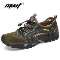 Summer Cool Breathable Men Hiking Shoes Suede + Mesh Outdoor Sneakers Climbing Shoes For Men Sport Shoes Quick-dry Water Shoes