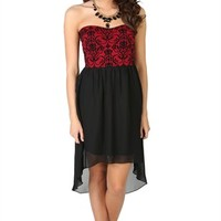 Strapless Dress with Brocade Print Bodice and Chiffon High Low Skirt