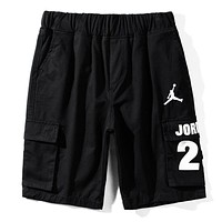 Jordan New Fashion Letter People Print Women Men Shorts Black