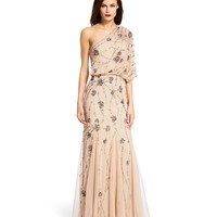 Adrianna Papell Beaded One-Shoulder Gown   Dillards
