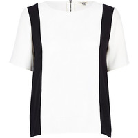 River Island Womens Black and white color block t-shirt