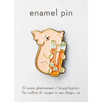 Cocktail Elephant Pin - Drunk Elephant Enamel Pin by boygirlparty for Collins & Coupe