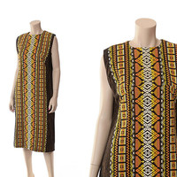 Vintage Ethnic Embroidered Dress 70s 80s 90s Fall Colors Hippie Boho Autumn Mexican Gypsy Woven Cotton Guatemala Shift Dress / M-L