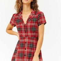 Plaid Button-Front Shirt Dress