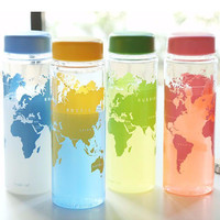 New portable plastic my water bottle accompanying map of the world series bottles 500ml Lemon Juice Sports Water Bootl