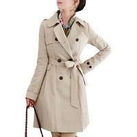 DJT Women's Elegant Long Trench Coat with Belt