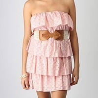 strapless belted perforated ruffle dress $34.00 in PINK WHITE - Casual | GoJane.com