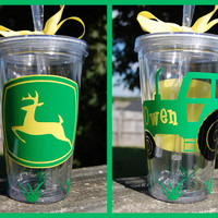 John Deere Tractor tumbler  16oz personalized by lyricalletters
