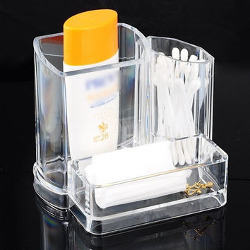 1PC Cosmetic Storage Organizer Makeup Display Rack Eyebrow Pencil Holder (Size: 13.5cm by 9.5cm by 11cm, Color: Transparent) = 1705677636