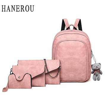 School Bags For Teenage Girls Backpack Women Cute 4 Set