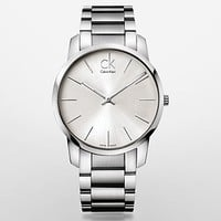 city stainless steel silver dial watch   Calvin Klein