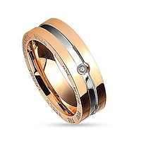 BodyJ4You Ring Couple His Hers Women Rose Goldtone Stainless Steel Size 7 Fashion Jewelry