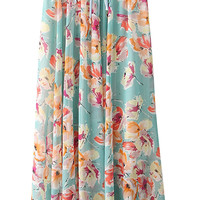 Light Blue Floral Chiffon Maxi Skirt