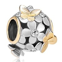 Pugster 22K Gold Plated Flower Golden Butterfly Charm Bead Fits Pandora Bracelet (Clear White)