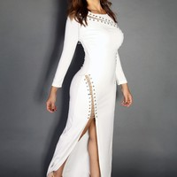 Sexy Goddess White Open Chained Cut-Out Slit Maxi Dress