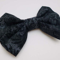 Charcoal Gray Hair Bow - Gothic Lolita Accessory - Womens Hairbow Grey
