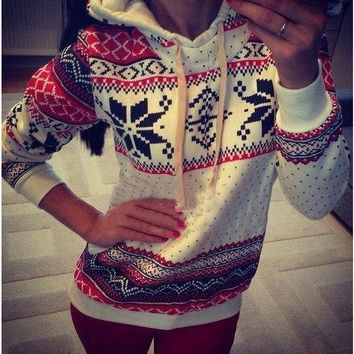 White Printed Sweater with Hood