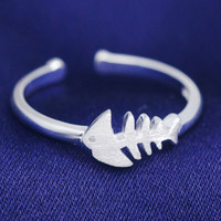 Personality of fish bone 925 sterling silver ring , a perfect gift