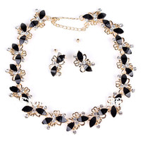 Butterfly Rhinestone Chain Necklace and Earrings