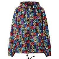 Onewel Gucci Coat Rainbow Print GG Star honeycomb type colorful jacket Zipper Windbreaker top