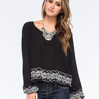 Patrons Of Peace Embroidered Womens Top Black  In Sizes