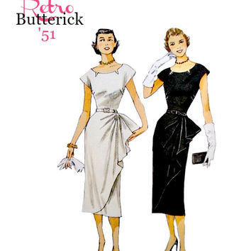Retro Easy to Sew One Piece Dress Pattern Film Noir Wide Neckline Cut Outs Front Drape Butterick B5880 Sewing Patterns Uncut Size 6 - 14