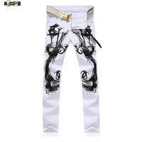 2016 New Fashion Mens Elastic White Jeans Flower Printed Jeans Designer Brand Clothing Man Jeans Casual Pants For Men