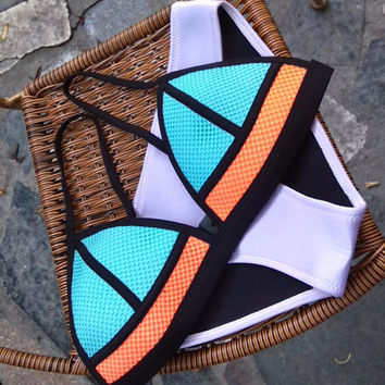 Color Block Mesh Strappy Triangle Bikini