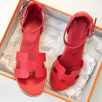 Hermes Summer Popular Women Casual Leather Sandals Shoes Red