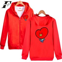 LUCKYFRIDAYF 2018 BTS K-Pop Love Yourself Hoodies Women/Men Cartoon Zipper Korea BTS Fashion Hip Hop Hoodie Sweatshirt Casual