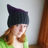 Red blue and grey pussycat hat Knitted, purple, pussy power, devil horny hat, winter knitted hat, women's march accessory, women power