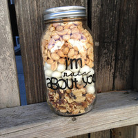 Im Nuts About You! Hand Painted Glass Jar with lid-Valentine's Day Gift-Cashews, Peanuts, Walnuts, Chocolate Nuts-Gift for him-Gift for her
