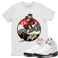 Pin Up Girl T-Shirt - Air Jordan 5 SE Denim Fire Red
