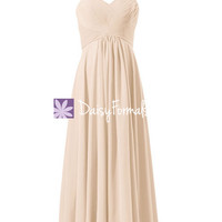 Nude Color Bridesmaid Dress Evening Gown Beaching Wedding Party Dress (BM313)