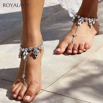 Boho Silver Crystal Anklet Sandals Beach Vacation Ankle Bracelet  Sandals Sexy Leg Chain Female Foot Jewelry Barefoot Accessory