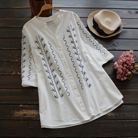 Cupshe Dream State Embroidered Long Shirt