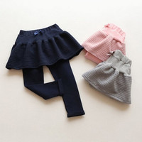 Girls Cotton Pants with Mini Skirts Kids Bottoming = 1782940484