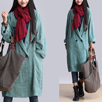 women  linen coat linen jacket Trench Coat Ourwear autumn coat