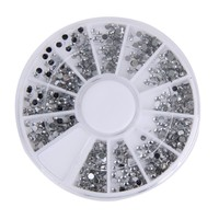 2000 pcs 1.5mm Round Glitter Nail Art Rhinestones nail decoration Nails Wheel Clear Transparent