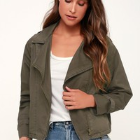Loaded Olive Green Moto Jacket