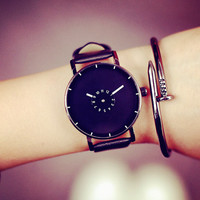 Simple Style Leather Watch + Gift Box- 484