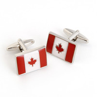 Dashing Cuff Links with Personalized Case - Canada Flag
