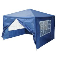 10'x10' Outdoor Canopy Party Wedding Tent Blue Pavilion w/4 Side Walls