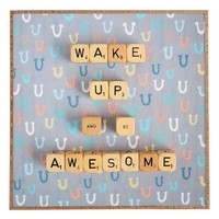 DENY Designs 'Happee Monkee - Wake Up and Be Awesome' Wall Art