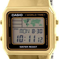 Men's Gold-Tone Casio World Time Stainless Steel Watch A500WGA-1