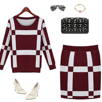 Round Neck Long Sleeve Knit Skirt Two-Piece Outfits