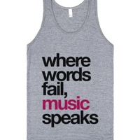Where Words Fail, Music Speaks Tank Top Pink Black