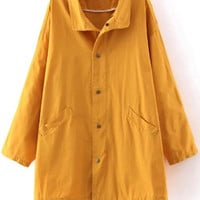 Yellow String Pockets Windbreak Trench Coat