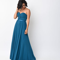 Teal Chiffon Strapless Sweetheart Corset Long Gown