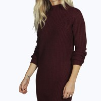 Sarah Knitted Dress With Funnel Neck